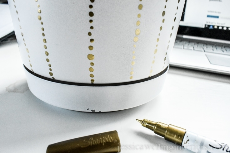 image of DIY modern indoor plant pots with paint pen dot pattern.