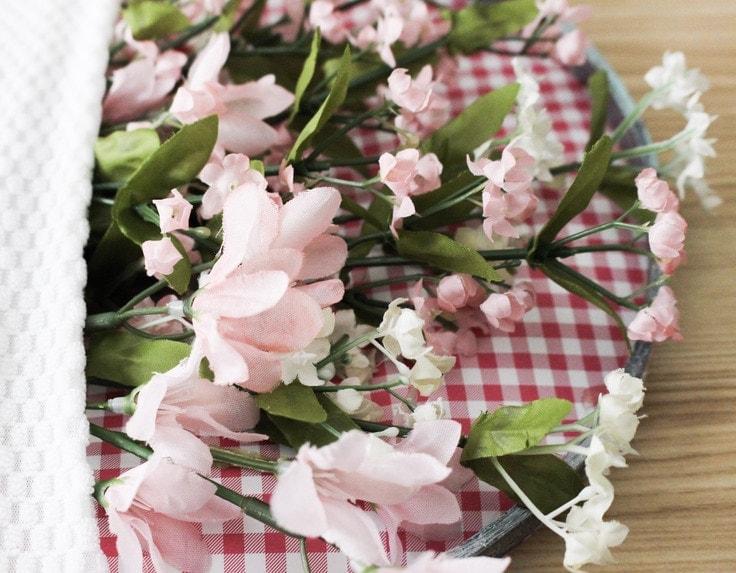 flowers in pocket of hoop