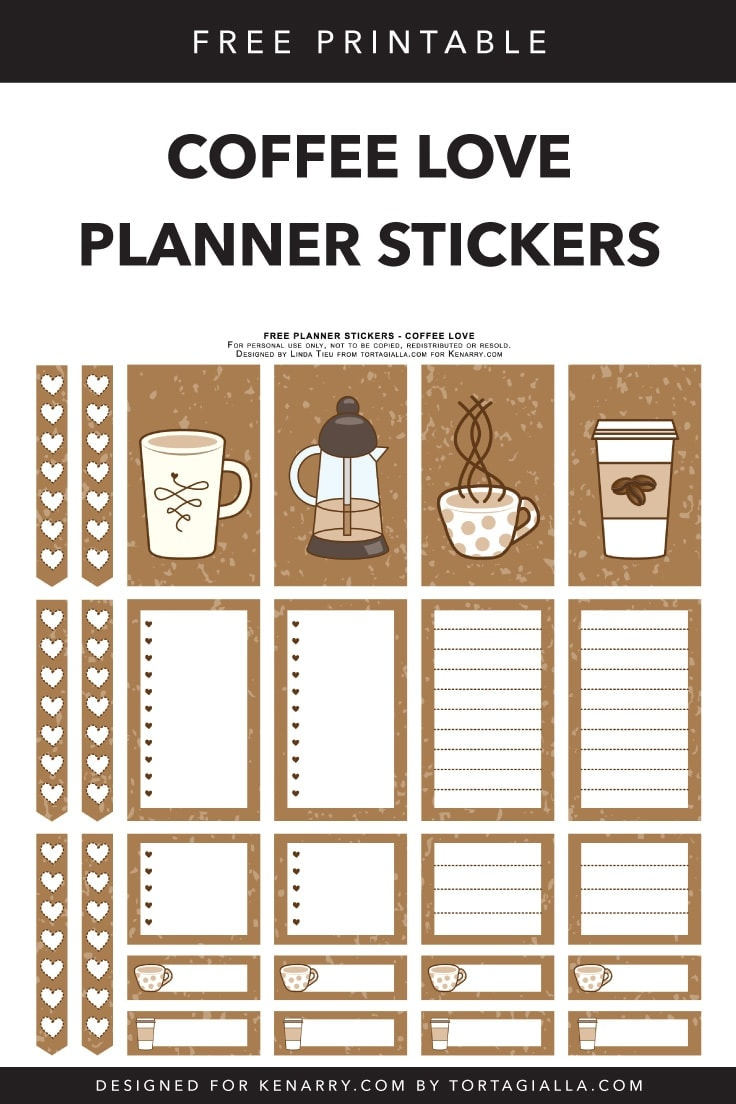 Looking for FREE printable planner stickers to spice up your planning game? Check out these coffee themed designs that you can download and print from home. #plannerstickers #planner #kenarry