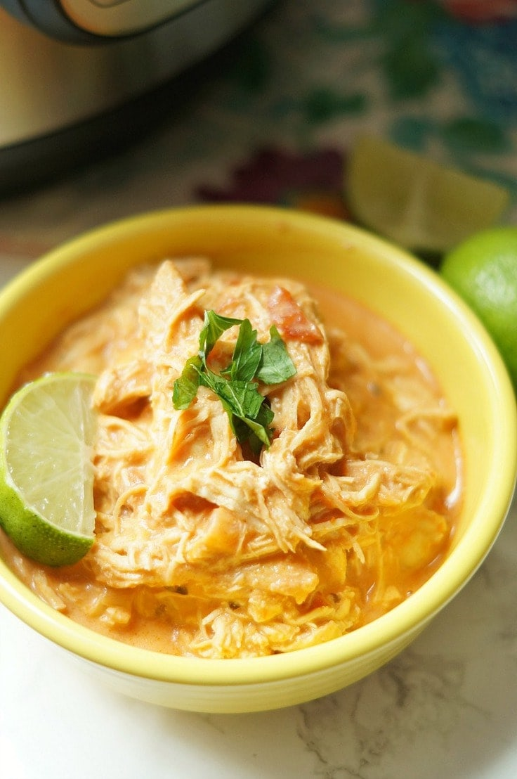 Creamy shredded chicken taco soup made in the Instant Pot