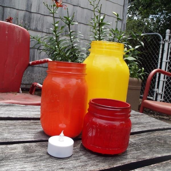 Rainbow mason jar candle holders