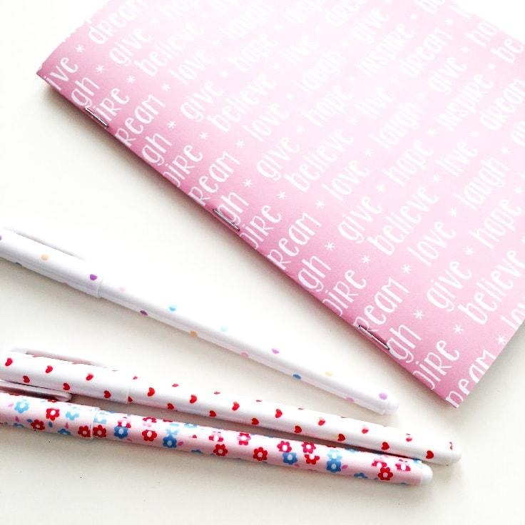 A pink DIY paper notebook