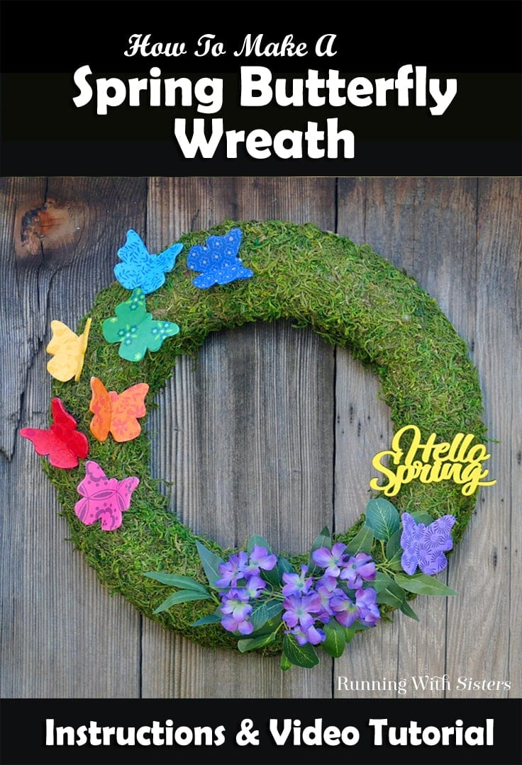 Spring Butterfly Wreath for your front door with colorful decoupage butterflies