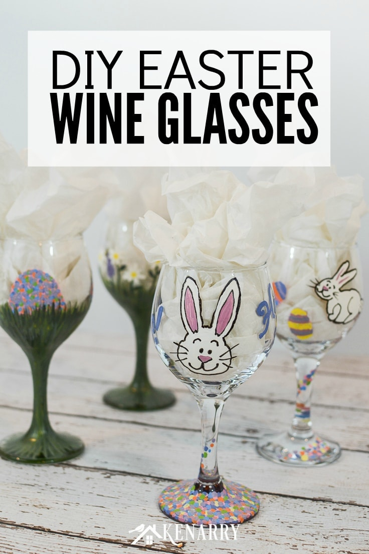 Looking for a fun Easter craft idea? Learn how to make hand painted wine glasses. This DIY stemware is a beautiful way to decorate your Easter dinner table.