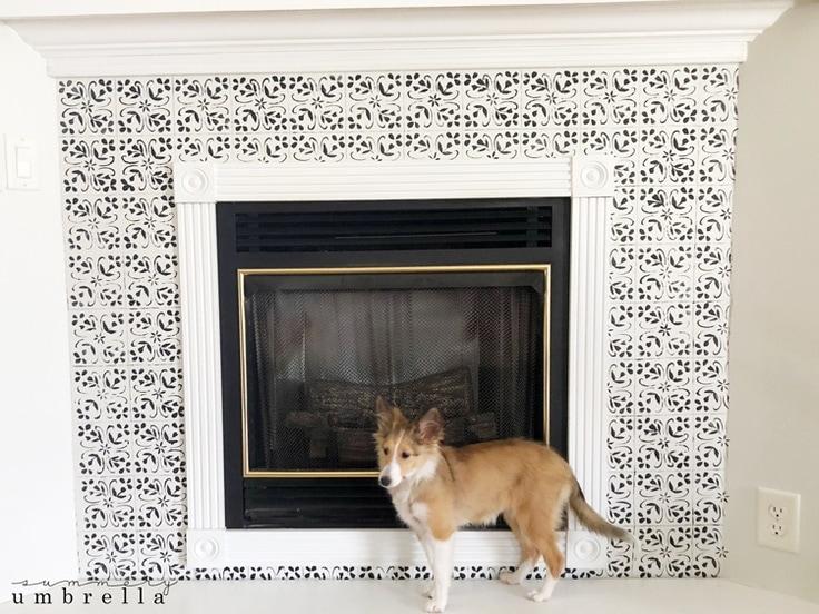 diy tile fireplace