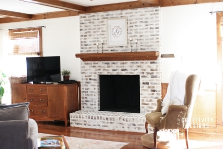 German Schmear Brick Fireplace (How to Mortar Wash), by Craftivity Designs