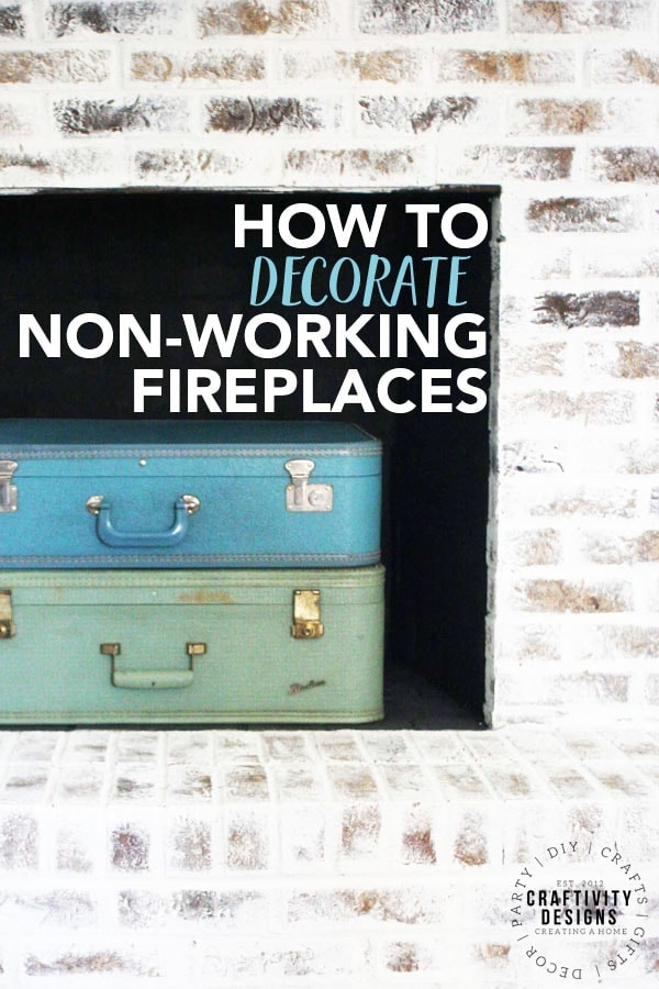 How to Decorate Non-Working Fireplaces, 3 Non-Working Fireplace Ideas, Suitcase stacked in a Firebox, by Craftivity Designs