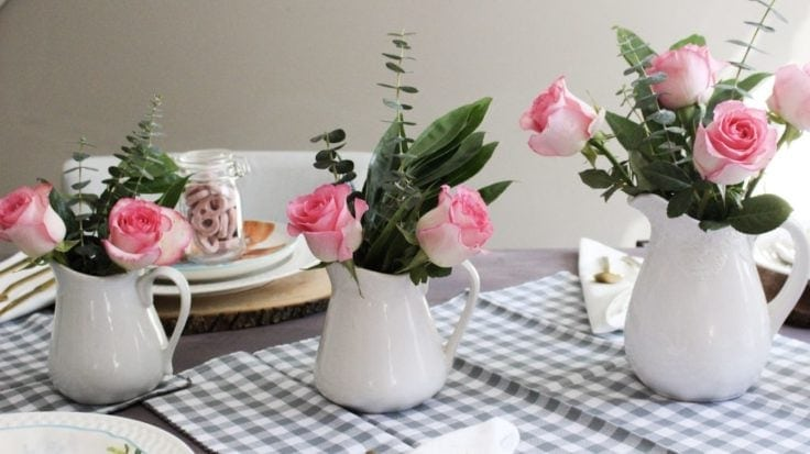 Spring Tablescape With Pink Roses Our Crafty Mom