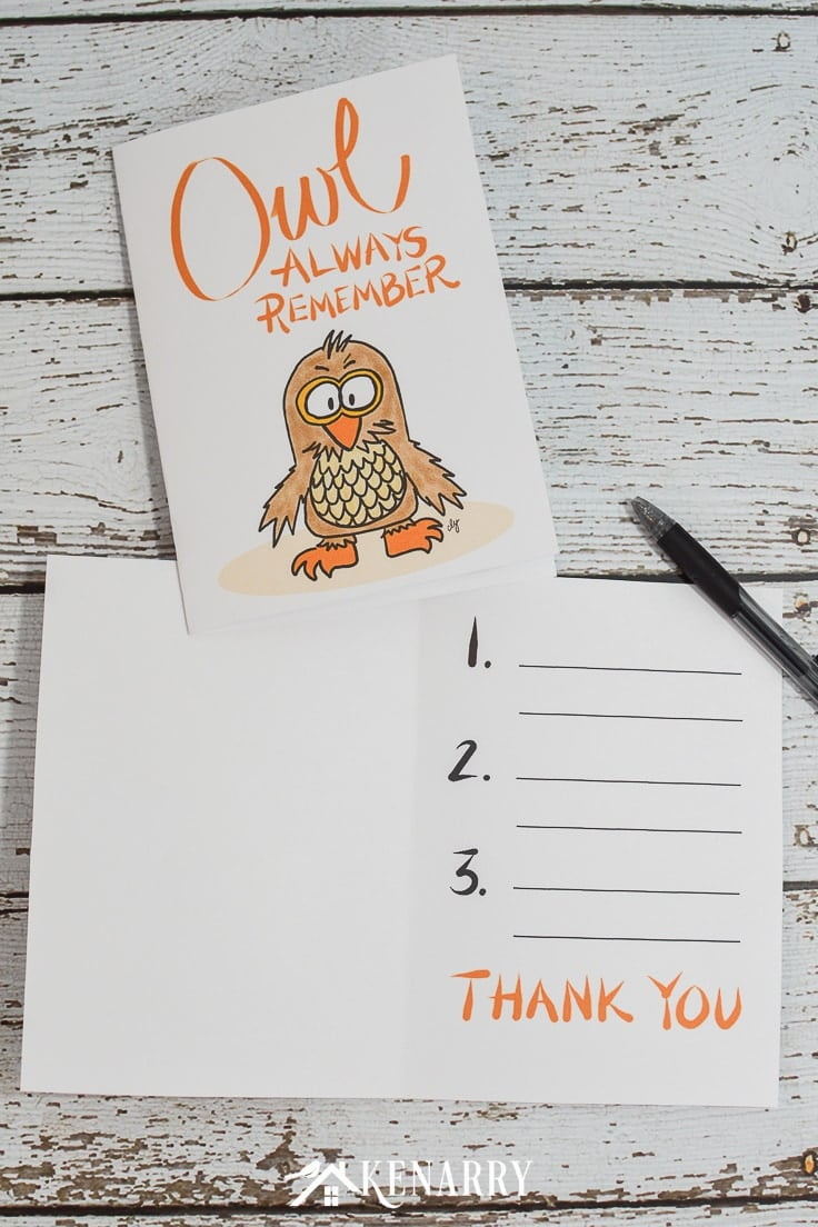 """A printable teacher appreciation card that reads """"Owl Always Remember"""" With three spaces inside to write a note."""