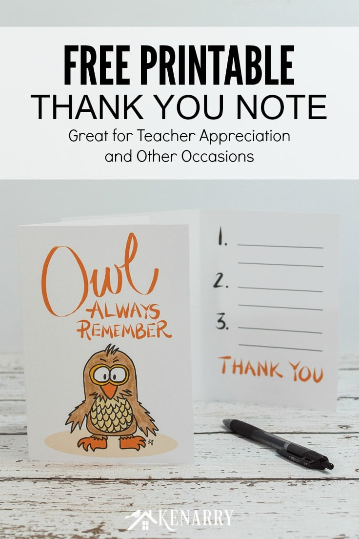 """With this free printable thank you note for teacher appreciation, your child can write 3 things """"owl always remember"""" from this school year."""