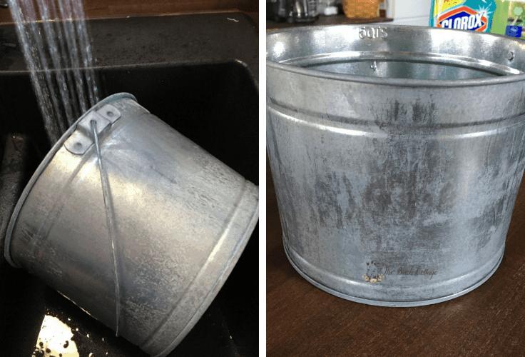 Aged galvanized metal pail.