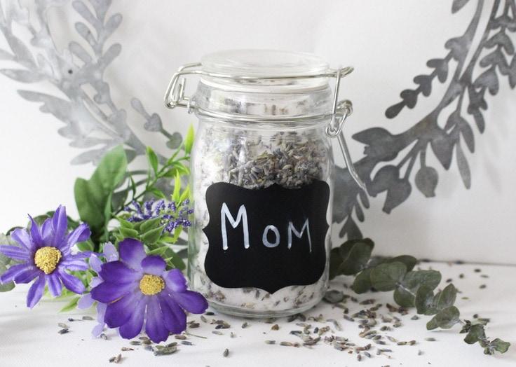 """lavender sugar scrub in a decorative mason jar that says """"mom"""""""
