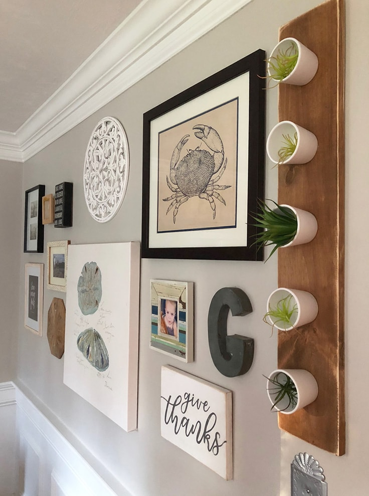 A Simple DIY Hanging Wall Planter on a gallery wall.
