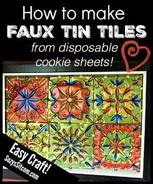 How to make faux tin tiles with disposable cookie sheets!