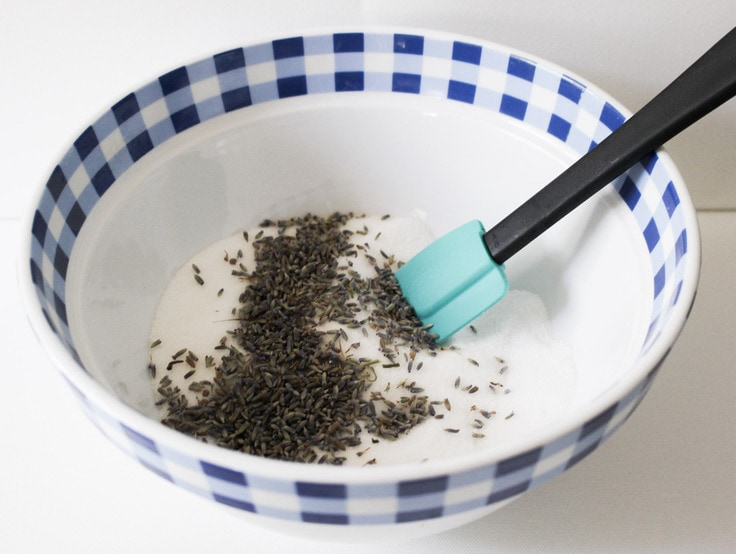dried lavender with sugar in mixing bowl
