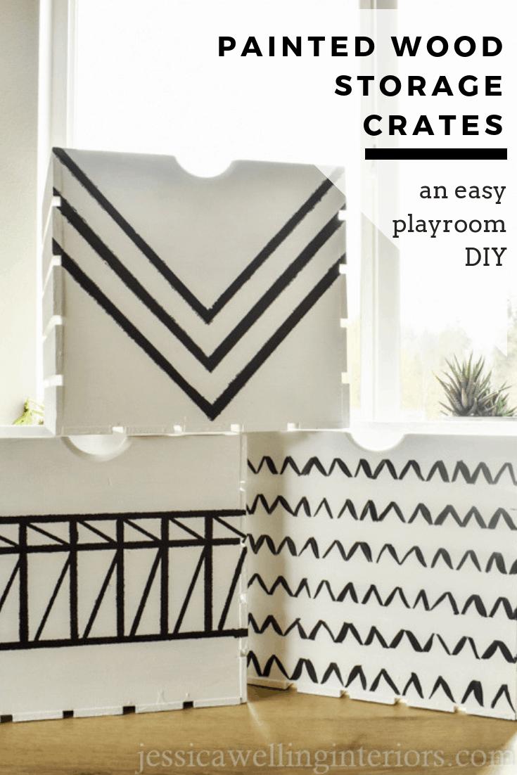 Painted Wood Storage Crates: An Easy Playroom DIY