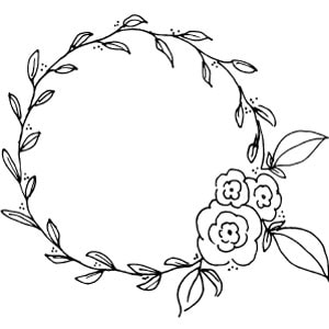 Black and white wreath and flowers drawing