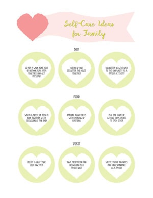 Self-care ideas for family printable with hearts and written prompts