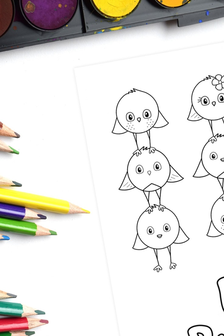 Watercolor paints and colored pencils with a coloring page design full of cute birds.