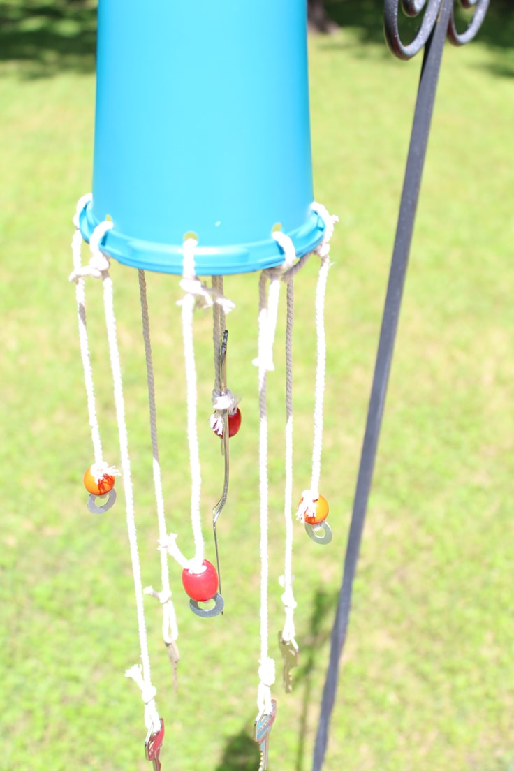 A close-up view of the wind chime cord and keys