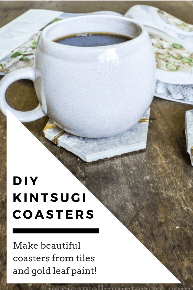 DIY Kintsugi Coasters being used with a mug of hot coffee and a magazine on a coffee table