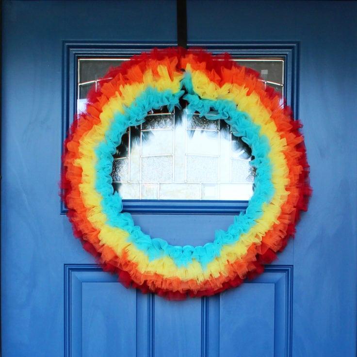 DIY Rainbow Wreath at OneMamasDailyDrama.com