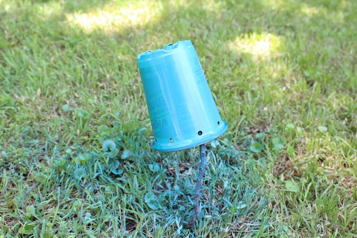 A blue spray painted container