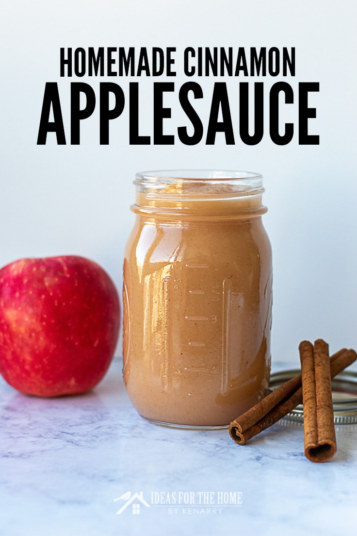 Homemade Cinnamon Applesauce canned in a pint jar
