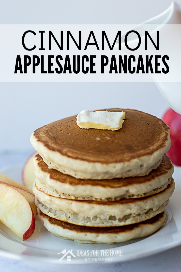 Cinnamon Applesauce Pancakes, topped with butter and apples on the side