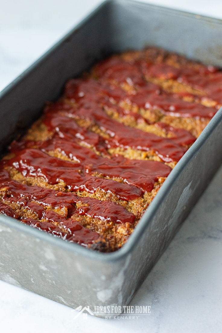 Barbecue turkey meatloaf in a metal loaf pan