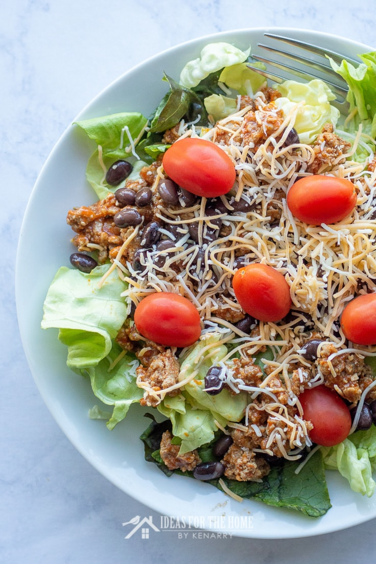 Salad with taco meat, crushed tortilla chips, black beans, tomatoes, and cheese makes an easy crowd pleasing side dish for any summer picnic or potluck