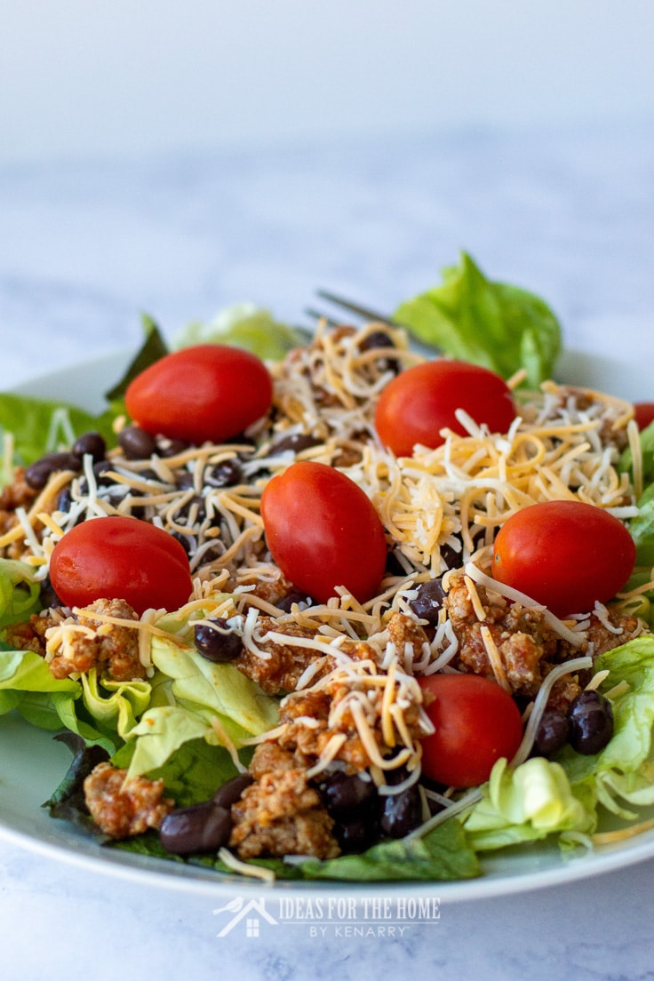 Lettuce topped with ground beef, tomatoes, crushed tortilla chips, black beans, and cheese to make a crowd pleasing taco salad for any summer picnic or potluck