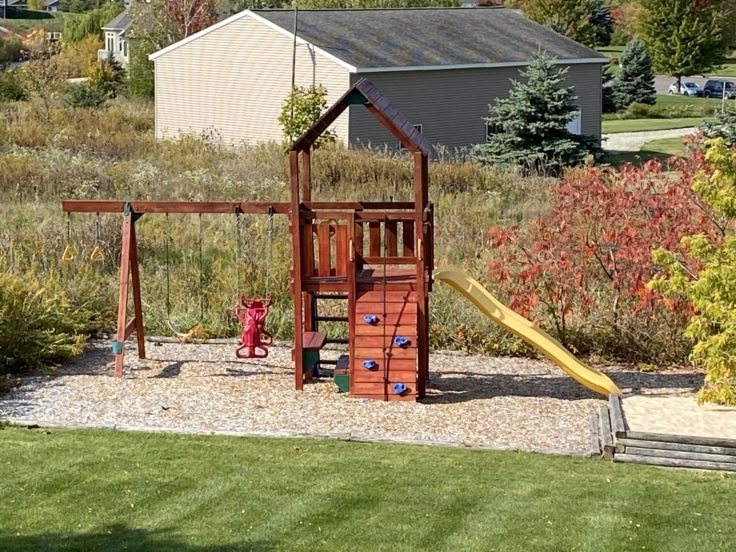 Playset with Redwood Stain