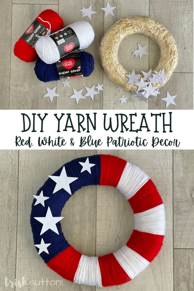 Red, white, and blue yarn with a straw wreath and felt stars beside a finished patriotic wreath.