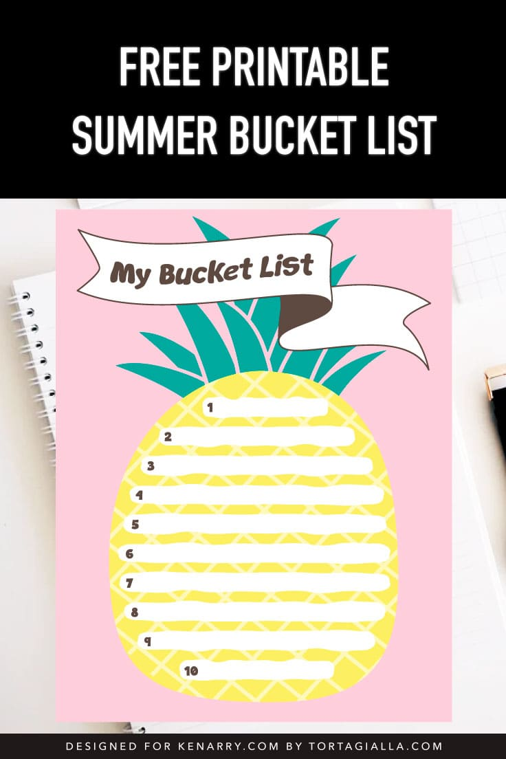 Preview of pink summer bucket list pineapple design on top of spiral notebook on desk with papers.