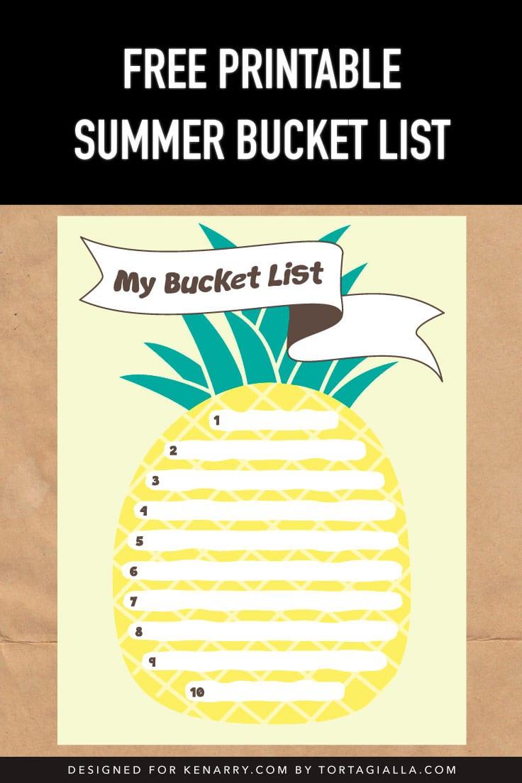 Preview of pineapple summer bucket list design on kraft paper background.