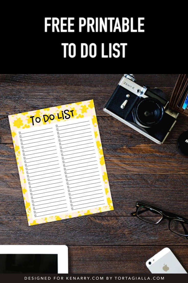 Preview of yellow floral printable to do list on dark wooden desk with old fashioned photo camera, glasses, mobile phone, and tablet.