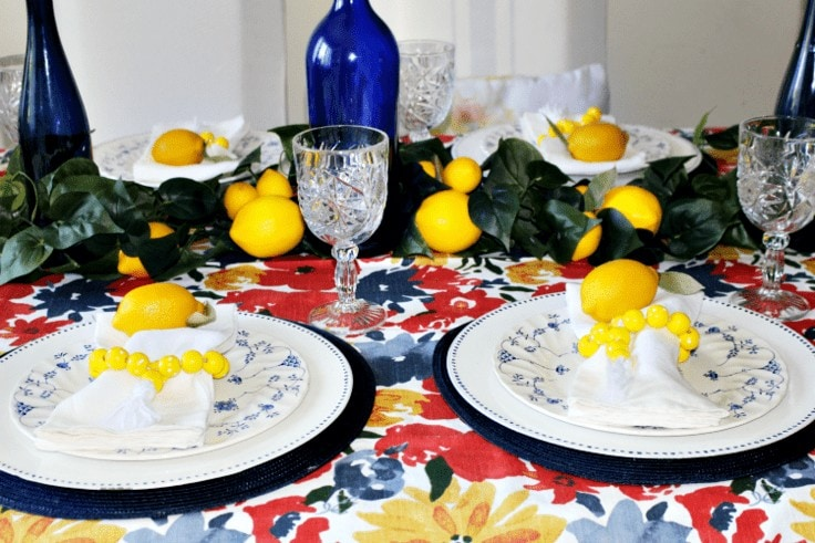 Lemon tablescape from Our Crafty Mom.