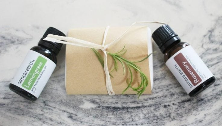 Rosemary and lemongrass goats milk soap with essential oils from Our Crafty Mom.