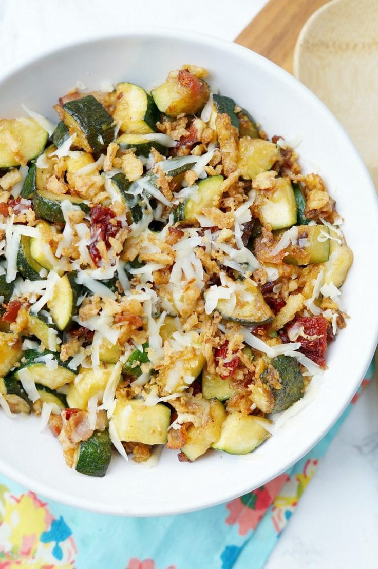 Zucchini with sun-dried tomatoes and bacon from Old House to New Home.