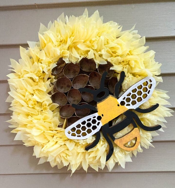 Sunflower bumblebee wreath from Our Crafty Mom.