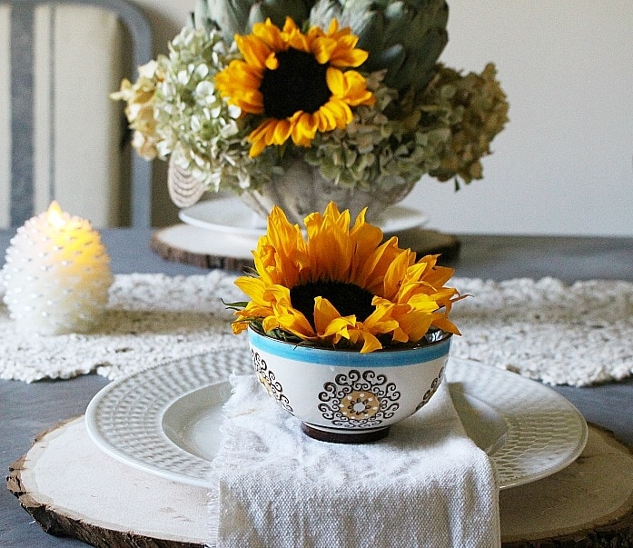 Sunflower fall tablescape from Our Crafty Mom.