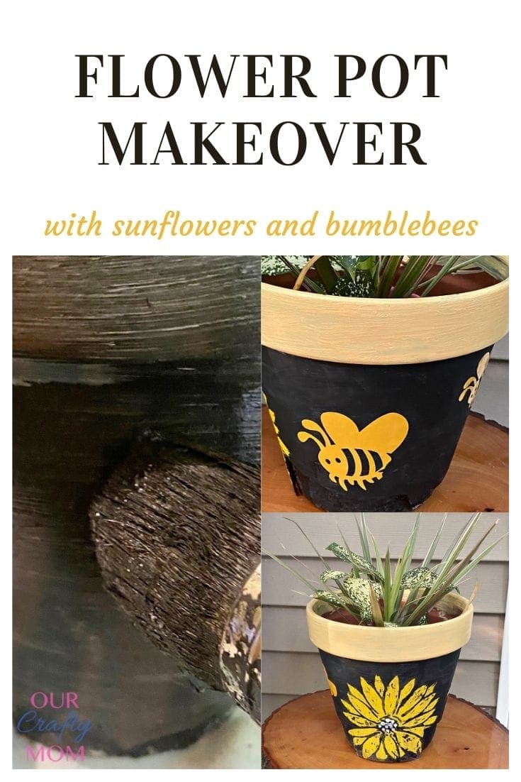 """Finished flower pot pin collage with text overlay that reads """"flower pot makeover with sunflowers and bumblebees."""""""