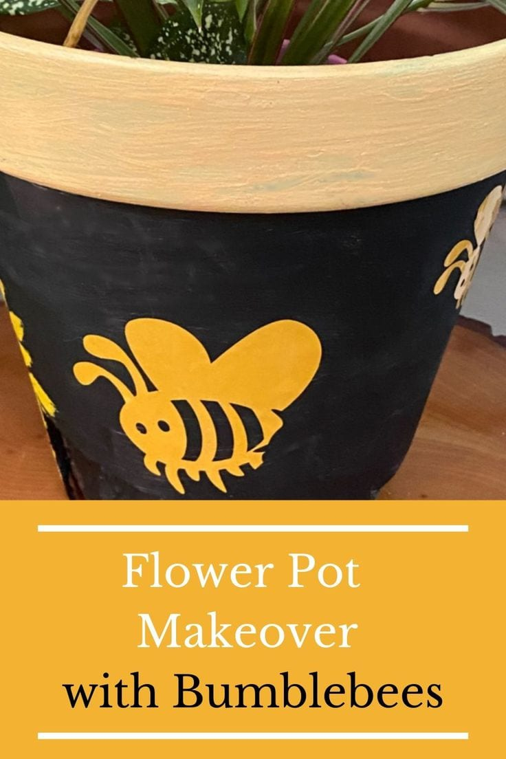 Flower pot makeover with vinyl bumblebees.