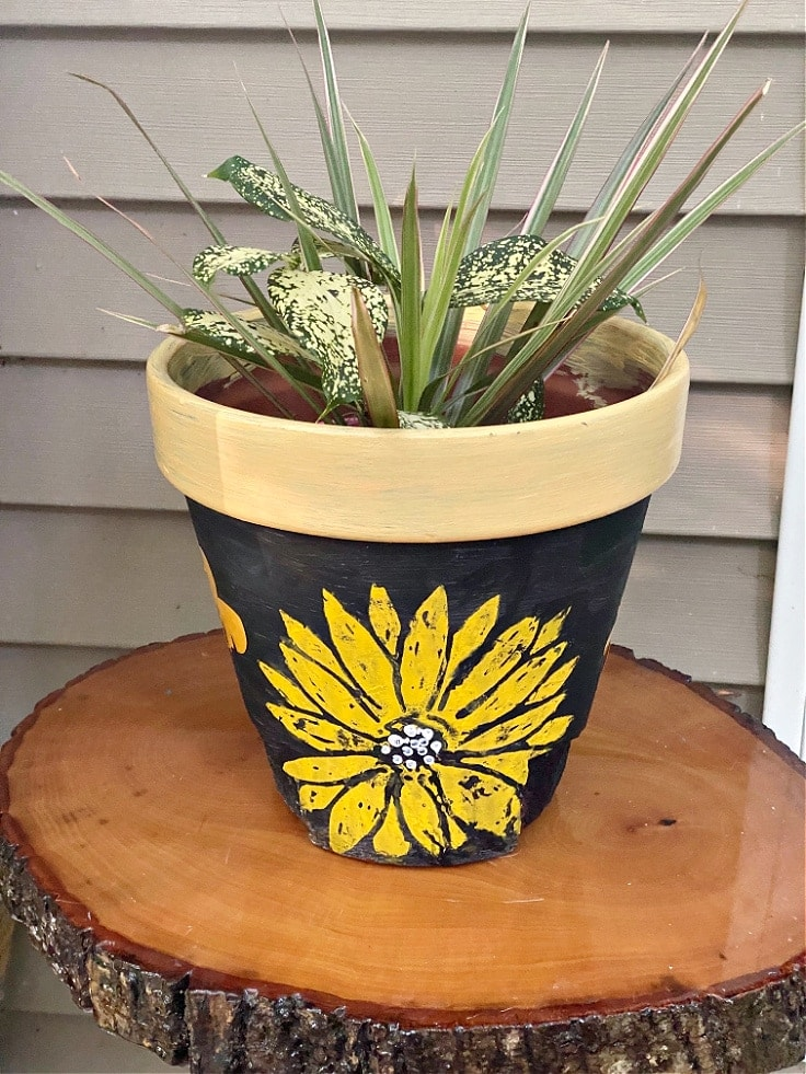 Finished flower pot with sunflower.