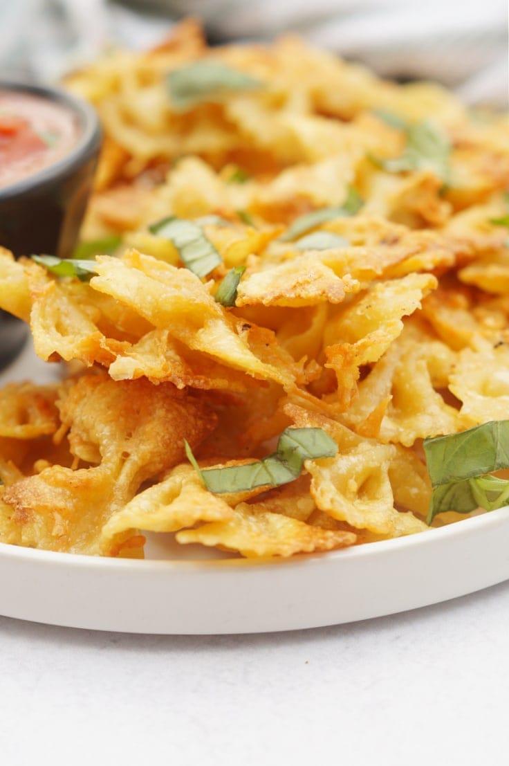 TikTok trending air fried bowtie pasta.